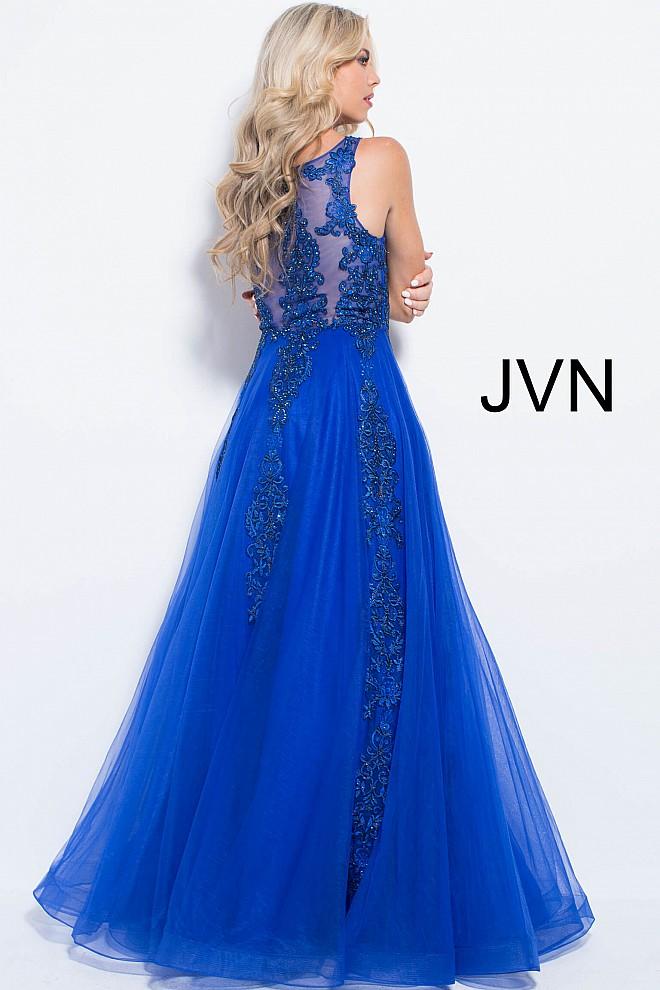 Blue lace ballgown jvn59046 660x990