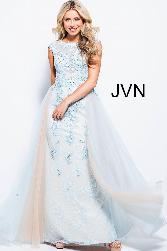 Blue long dress jvn58023 660x990