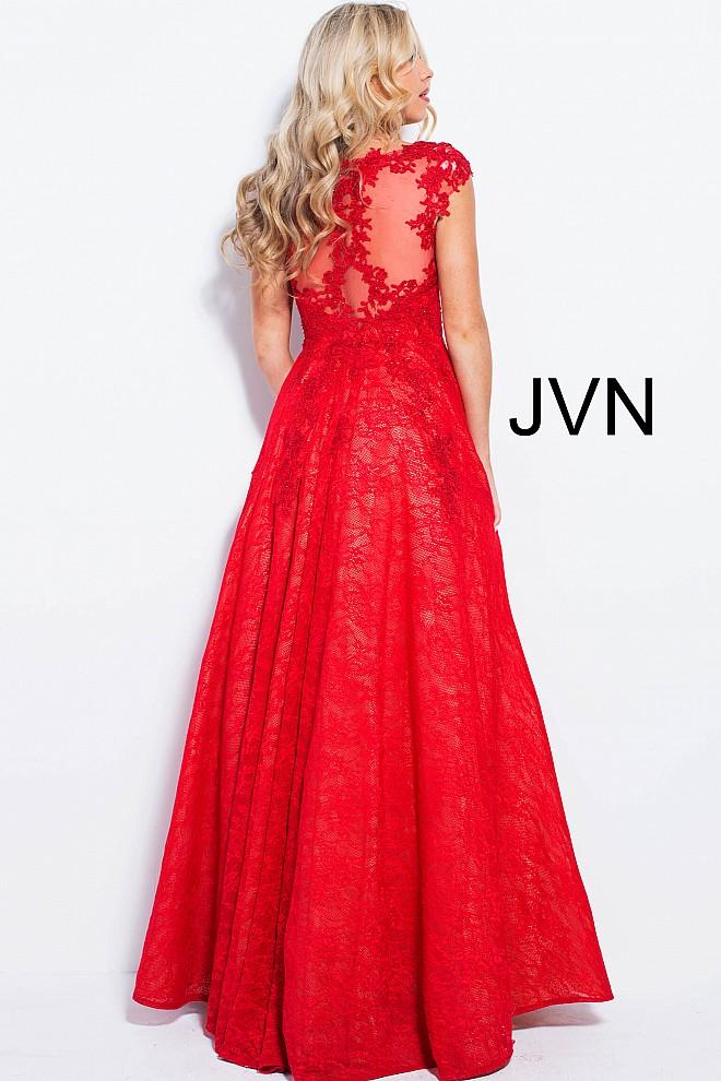 Cap sleeve red dress jvn58119 660x990 2