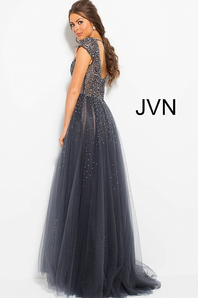 Grey beaded long dress jvn60967 660x990 2