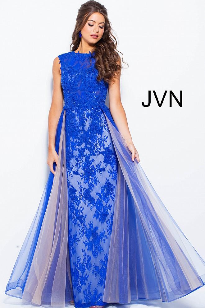 Lace royal blue dress jvn58023 660x990