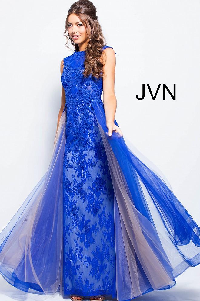 Lace royal blue dress main jvn58023 660x990
