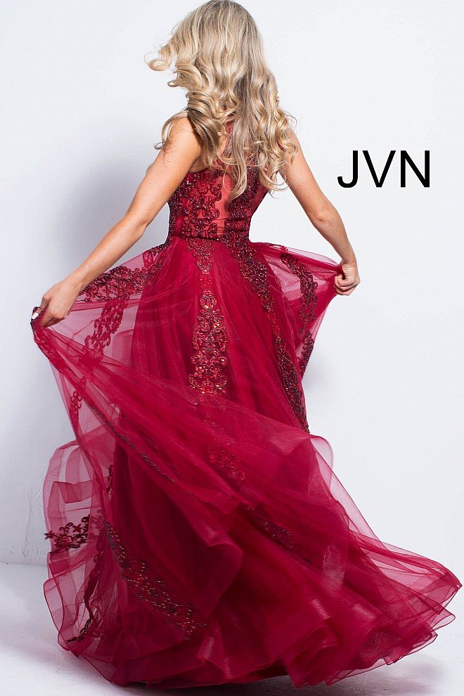 Red beaded gown jvn59046 660x990