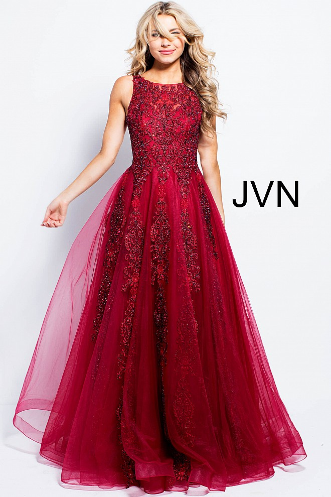 Red lace dress jvn59046 660x990